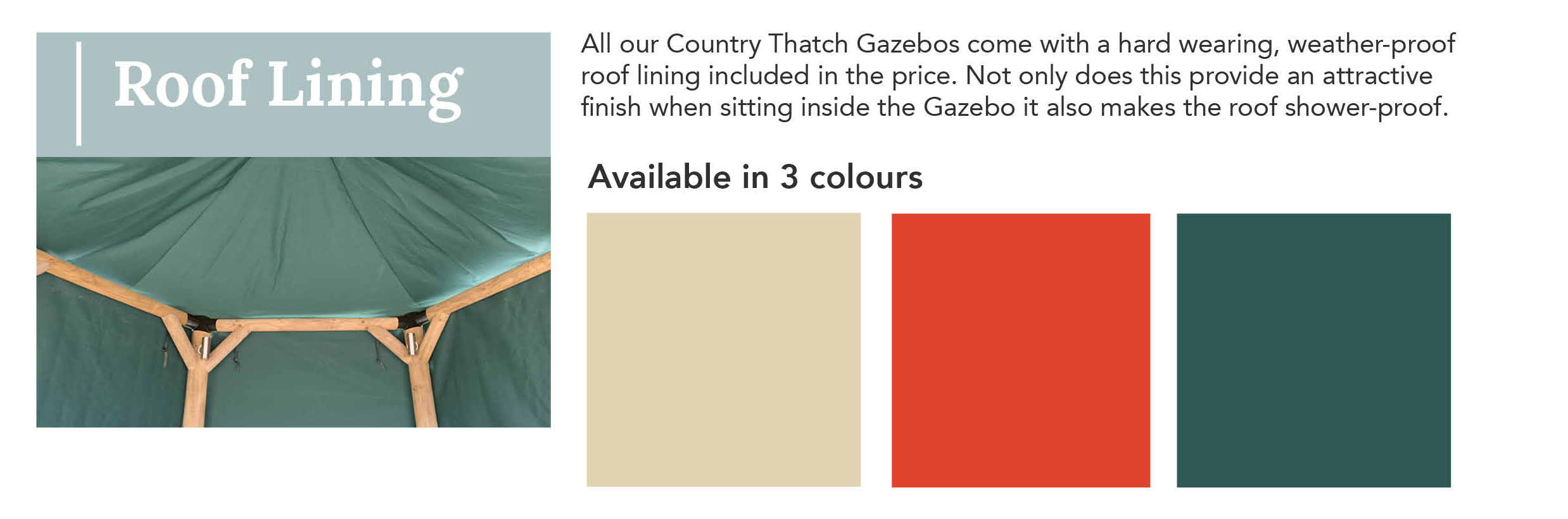 Gazebo Country Thatch Roof Lining Colours