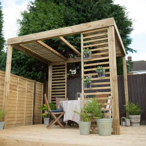 Wooden Garden Structure On Decking