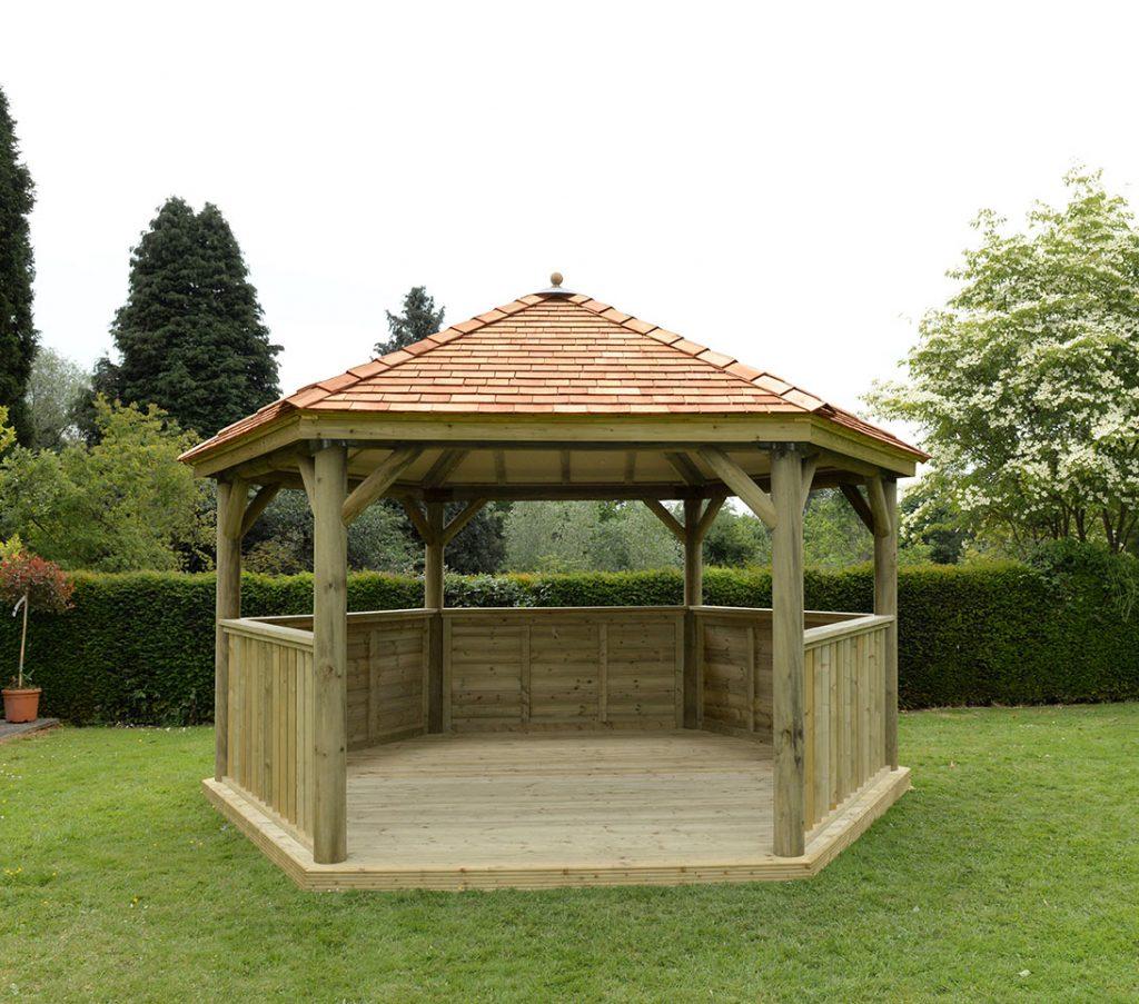 4 7m Premium Hexagonal Wooden Garden Gazebo With Cedar