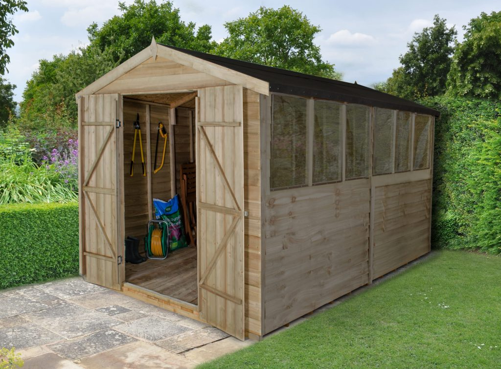 12x8 Wooden Overlap Garden Storage Shed Windows Double Door Apex Roof 12ft 8ft Yard, Garden & Outdoor Living