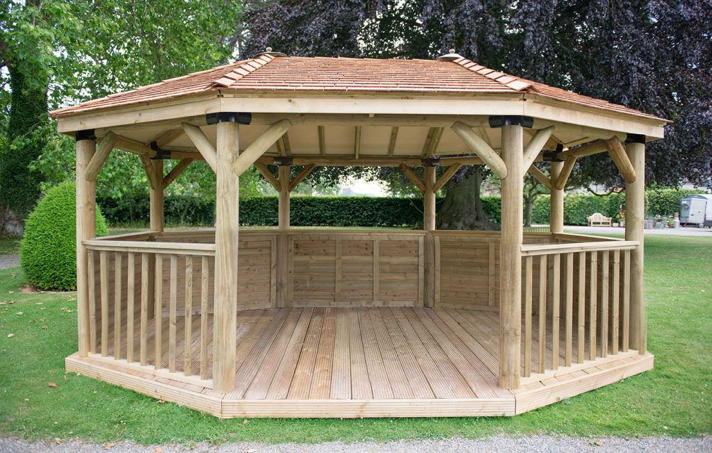 51m Premium Oval Wooden Gazebo With Cedar Roof Forest Garden