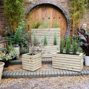 Wooden Plant Growing Sleepers & Containers In Garden