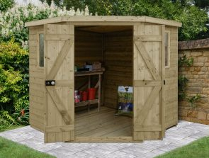 Forest Garden Shed With Doors Open