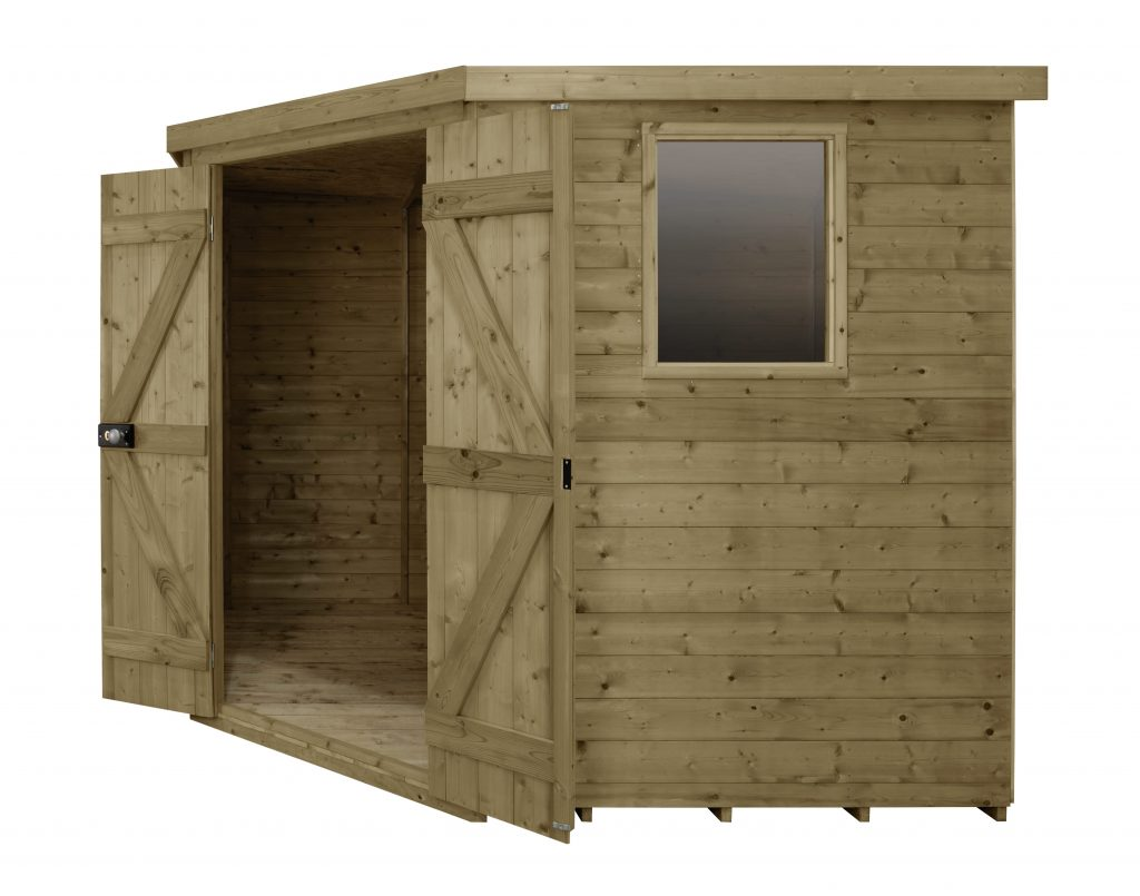 Tongue & Groove Pressure Treated 8x8 Corner Shed | Forest Garden