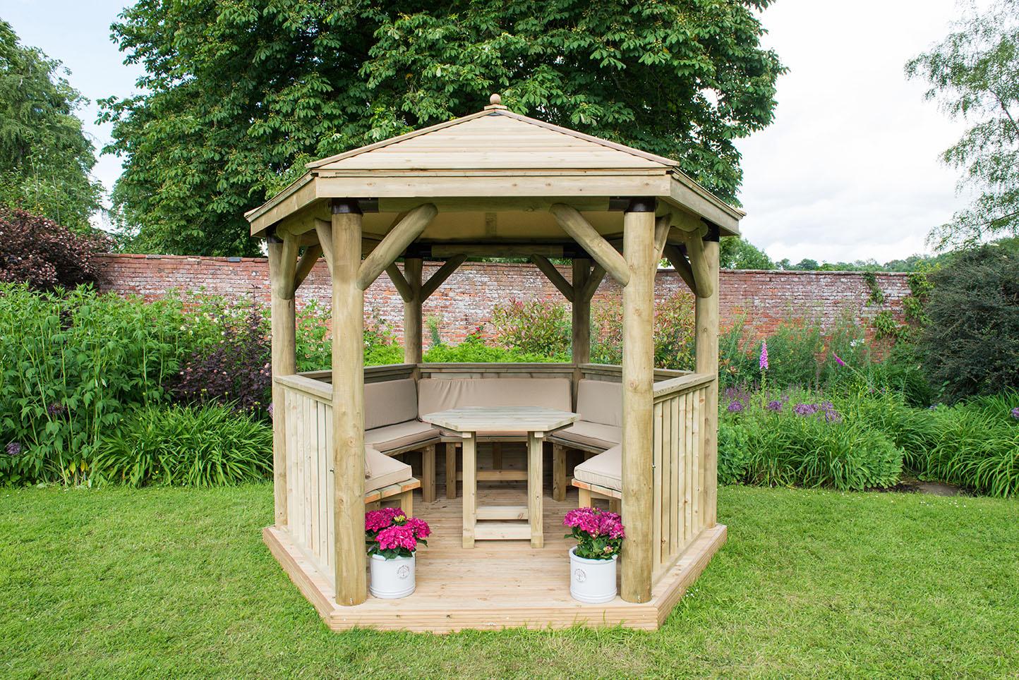 3m Premium Hexagonal Wooden Garden Gazebo with Timber Roof ...