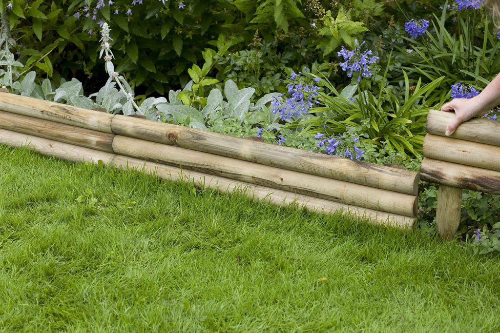 12 Fixed Wooden Log Lawn Edging Board